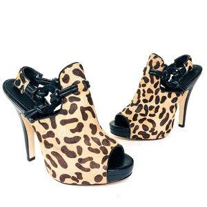 CK Faux Fur Leopard Print Juliana Shootie Heel 7